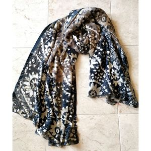 Large Scarf shawl wrap cover-up sarong beige blue